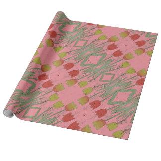 花のピンクの包装紙、チューリップ ラッピングペーパー
