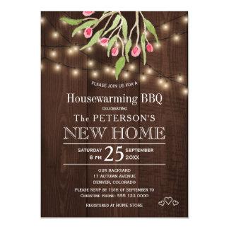 花のピンクの果実素朴なライト引っ越し祝いパーティーbbq 12.7 x 17.8 インビテーションカード