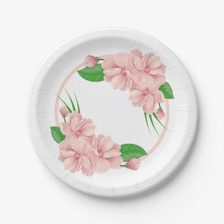 花のピンクの花のぼろぼろのシックな結婚式/パーティー ペーパープレート