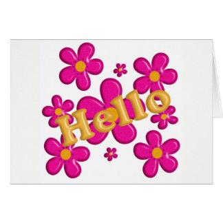花のピンクの要素。 こんにちは カード