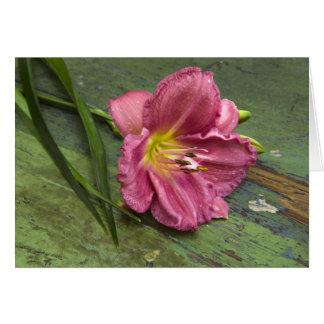 花のピンクユリの花のブランクNotecard カード