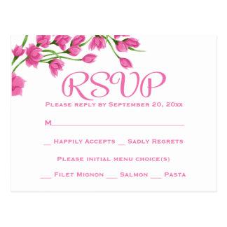 花のピンクRSVPの結婚披露宴の明るい赤紫色の花 ポストカード