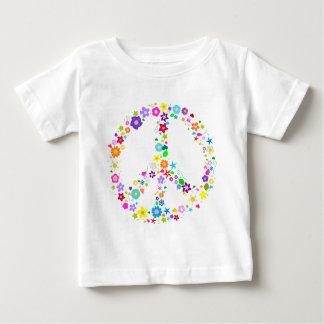 花のピースサイン ベビーTシャツ