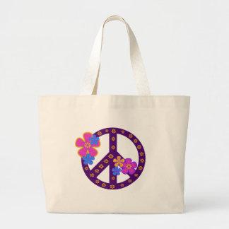 花のピースマーク ラージトートバッグ
