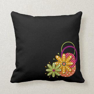 花のファンキーなレトロのおもしろいの枕 クッション