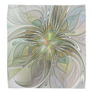 花のファンタジーの金ゴールドのモダンなフラクタルの芸術の花 バンダナ