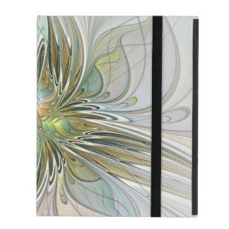 花のファンタジーの金ゴールドのモダンなフラクタルの芸術の花 iPad ケース