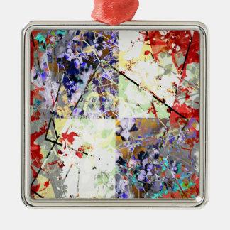花のファンタジー シルバーカラー正方形オーナメント