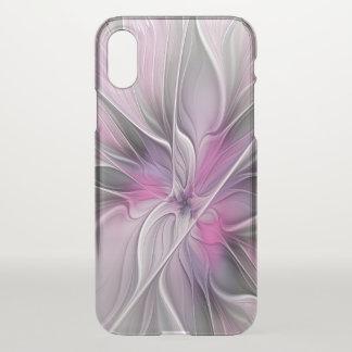 花のフラクタルのモダンの抽象芸術の花のピンクの灰色 iPhone X ケース