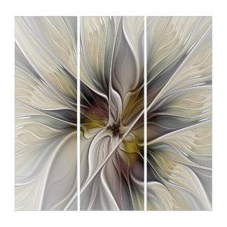 花のフラクタル、アース・カラーのファンタジーの花 トリプティカ