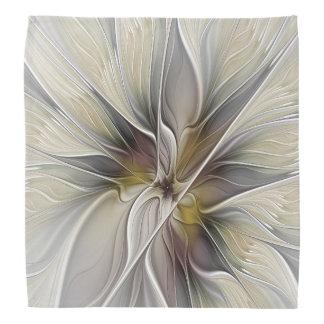 花のフラクタル、アース・カラーのファンタジーの花 バンダナ