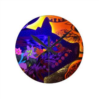 花のブタのデザイン ラウンド壁時計