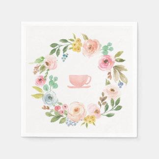 花のブライダルシャワーのお茶会のナプキン スタンダードカクテルナプキン