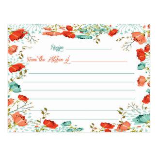 花のブライダルシャワーのレシピカード ポストカード