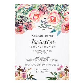 花のブライダルシャワーの招待 カード
