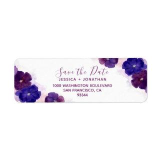 花のプラム紫色の保存日付の結婚式 ラベル
