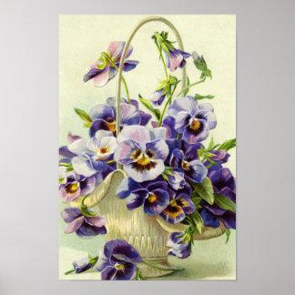 花のプリントの紫色のパンジーのバスケット ポスター
