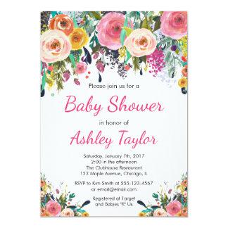 花のベビーシャワーの招待 カード