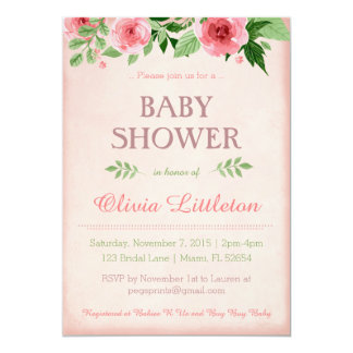 花のベビーシャワー招待状-花のシャワー カード
