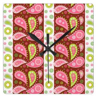 花のペイズリーのパネル スクエア壁時計