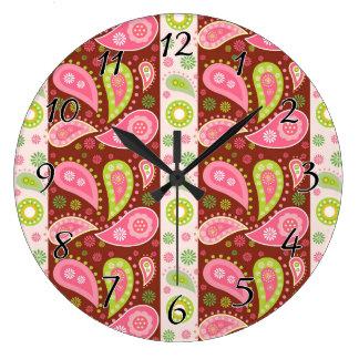花のペイズリーのパネル ラージ壁時計