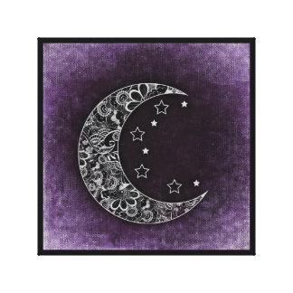 花のペイズリーの月及び星の折衷的なキャンバスのプリント キャンバスプリント