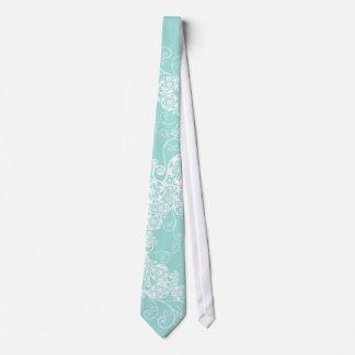 花のペイズリーの白い水のスタイリッシュでカスタムなギフトのタイ ネクタイ