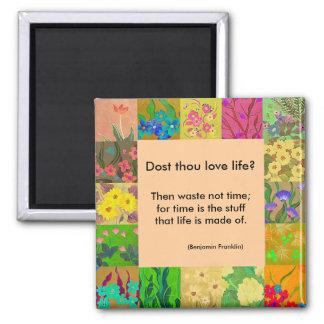花のボーダー磁石とのベンジャミン・フランクリンの引用文 マグネット