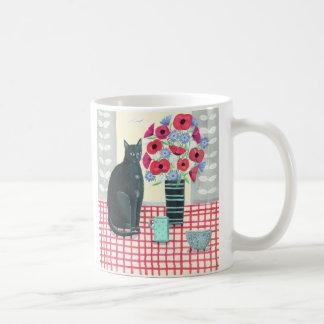 花のマグを持つ黒猫 コーヒーマグカップ
