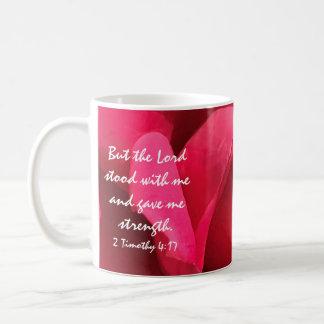 花のマグ、神の強さについての聖書の詩 コーヒーマグカップ