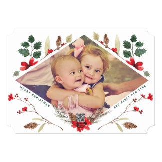 花のマツ水彩画のクリスマスの写真カード カード