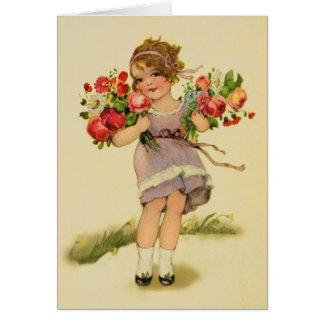花のメッセージカードを持つヴィンテージの女の子 カード