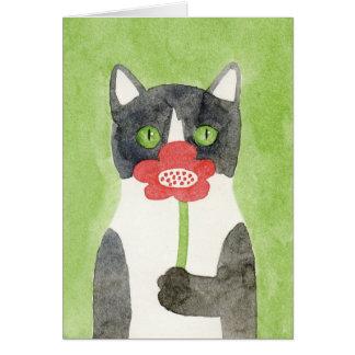 花のメッセージカードを持つ猫 カード