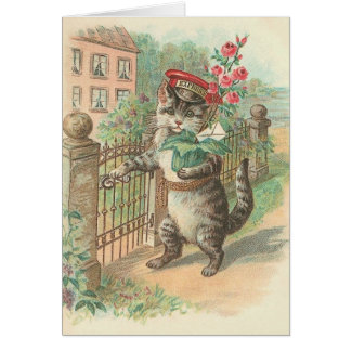 花のメッセージカードを渡しているヴィンテージ猫 グリーティングカード