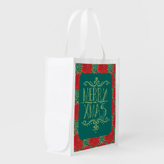 花のメリークリスマス エコバッグ