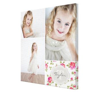 花のモノグラムのガーリーな写真のコラージュ キャンバスプリント