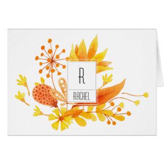 花のモノグラムのブランクのメッセージカードのオレンジの花 カード