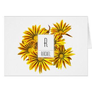 花のモノグラムのブランクのメッセージカードのガザニアの花 カード
