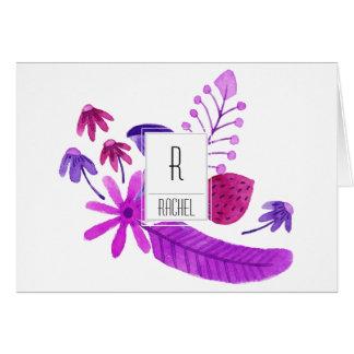 花のモノグラムのブランクのメッセージカードの紫色の花 カード