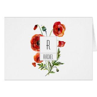 花のモノグラムのブランクのメッセージカードの赤いケシの花 カード