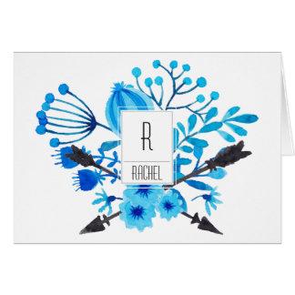 花のモノグラムのブランクのメッセージカードの青の花 カード