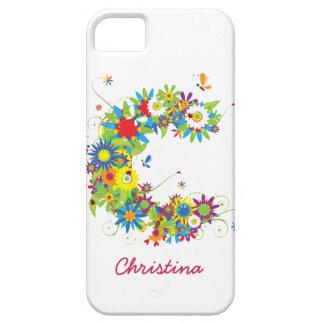 """花のモノグラム""""C""""のiPhone 5の穹窖の箱 iPhone SE/5/5s ケース"""