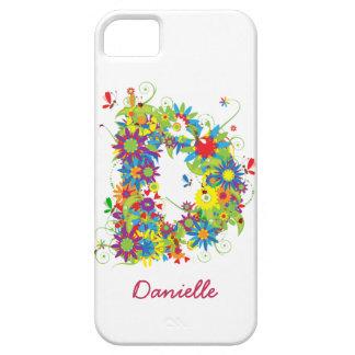 """花のモノグラム""""D""""のiPhone 5の穹窖の箱 iPhone SE/5/5s ケース"""