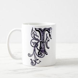 花のモノグラム「F」の-マグ コーヒーマグカップ