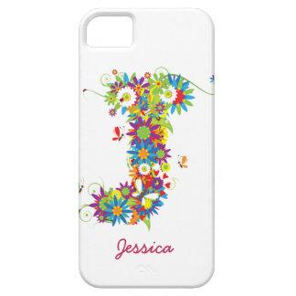 """花のモノグラム""""J""""のiPhone 5の穹窖の箱 iPhone SE/5/5s ケース"""