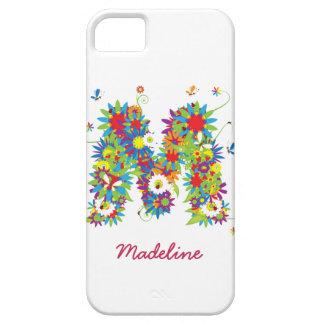 """花のモノグラム""""M""""のiPhone 5の穹窖の箱 iPhone SE/5/5s ケース"""