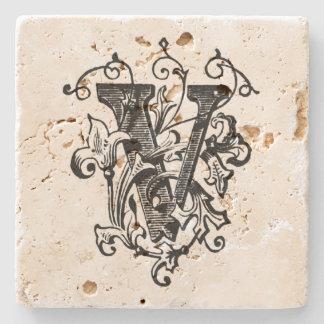 花のモノグラム「V ストーンコースター