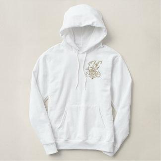 花のモノグラムKのフード付きスウェットシャツ 刺繍入りパーカ