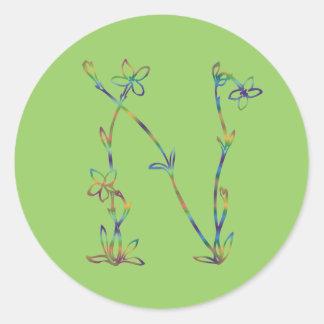 花のモノグラムN ラウンドシール