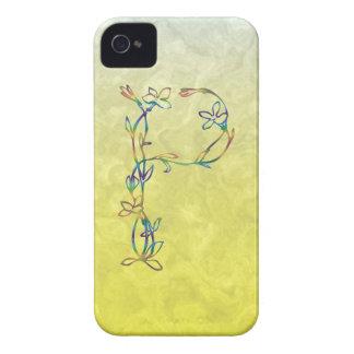 花のモノグラムP iPhone 4 カバー
